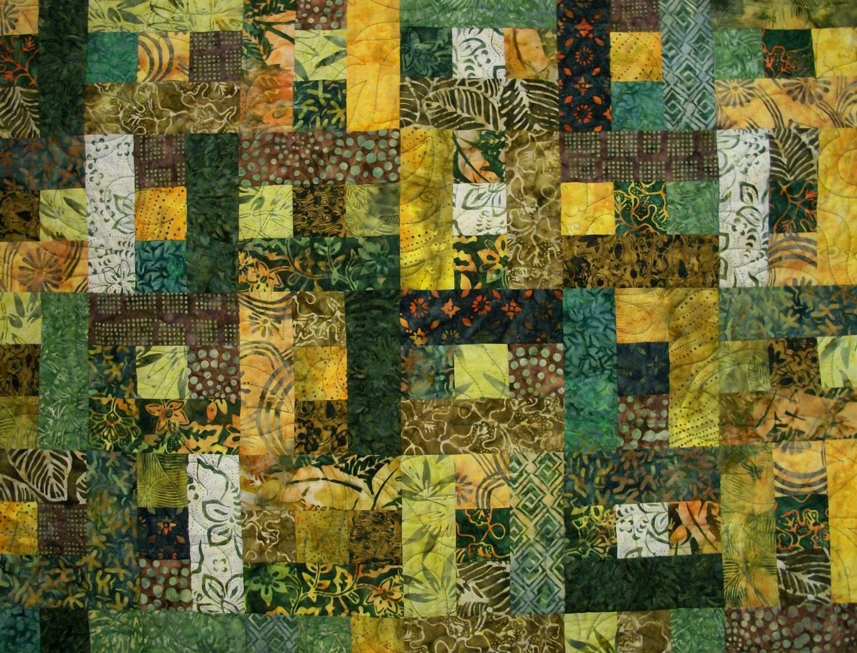 Batik Lap Quilt Lemongrass Green Yellow Handmade