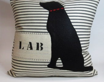 Black Lab Pillow - Decorative Black Lab Pillow Cushion Cover - Dog Pillow, Black Lab Silhouette, Custom Dog Name Pillow, Dog Gift, Labrador