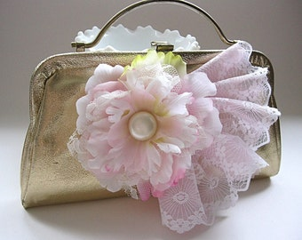 Metallic gold vintage evening bag, clutch, pink flowers, white and pink lace, for bride, wedding, prom, party