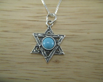 Star of David, Turquoise Star of David Necklace, Jewish Star Pendant, Judaica Necklace, Turquoise Necklace, Sterling Silver Star Pendant
