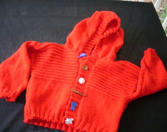 Hand knit boy or girl red hoodie cardigan