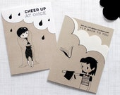Silver Lining Card Set. Get Well Soon, gift for readers, cartoony cute.