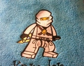 White ninjago embroidered towel personalized for your little ninja