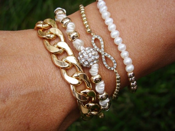 Gold Pearl Stacked Bracelets, Gold Stacking Bracelets, Stack Bracelets ...
