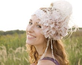 Summer Wedding Accessory 1920's Inspired Pale Pink Headband Weddings Royal Ascot Derby Headpiece Soft Vintage Feather Flower Romantic Lace