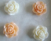 Peach Cream Rose Fridge Magnet Set of 4, Cute Magnets, House Warming Gift, Home Decor, Shabby Chic, Cottage Farmhouse Decor