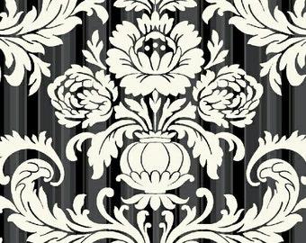 Laminated Cotton - Fleur Noir damask - 1 yard