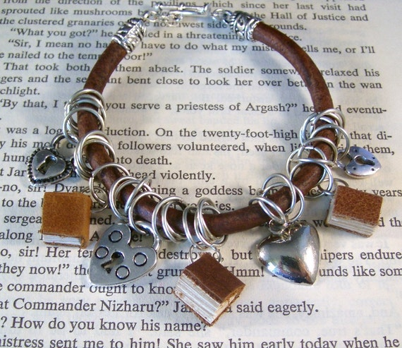 Book Love Charm Bracelet Miniature Books and Heart Charms on Greek Leather Bracelet