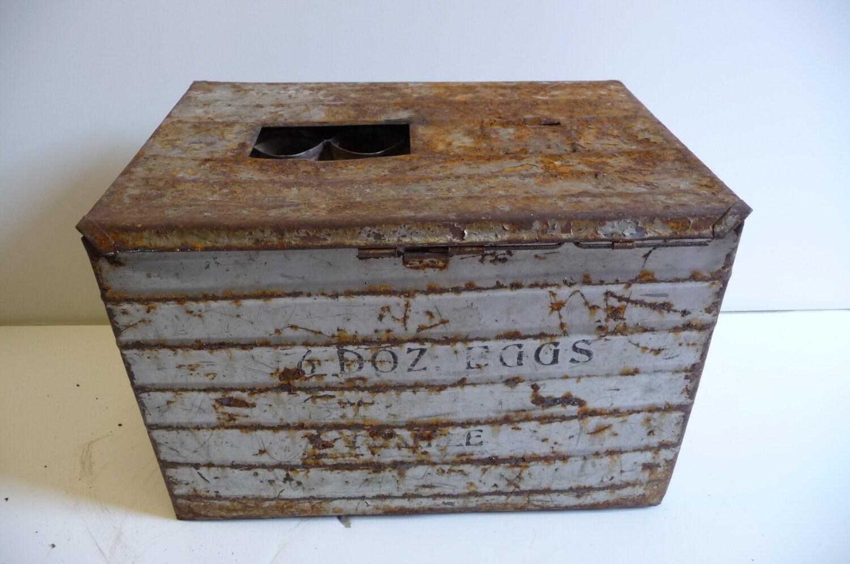 Antique egg crate Metal Shipping box 6 dozen eggs with