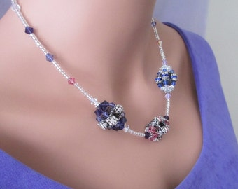 Purple Pink Blue Crystal Necklace Violet Tanzanite Woven Beads Pastels