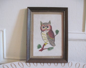 Woodland Owl, 1970s Pastels and Pencil original Art - in vintage wooden frame