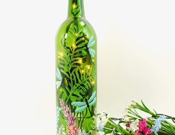 Lighted Wine Bottle Dragonflies Hand Painted 750 ml