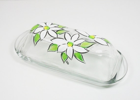 Butter Dish Hand Painted White Daisies