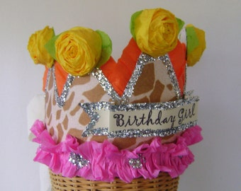 Birthday Party Crown, Birthday Party Hat, Birthday Girl Crown, Giraffe Birthday Hat, customize
