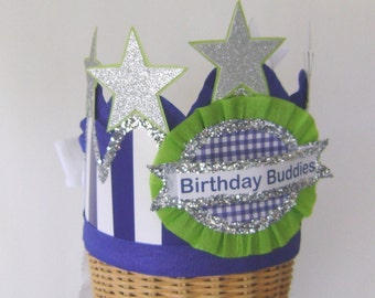 Boy birthday party hat, boy birthday party crown, birthday boy hat, blue stripe hat, customize