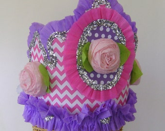 party hat, party crown pink and purple hat, Birthday Party Hat, customize, adult or child