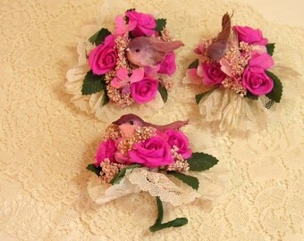 Vintage Bouquets With Flowers, Lace And Birds