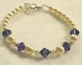 Girls Pearl Bracelet Jewelry Purple Velvet Swarovski Flower Girl Gift Plum Lapis Ivory Pearl Swarovski Crystals Little Girls Jewelry B083