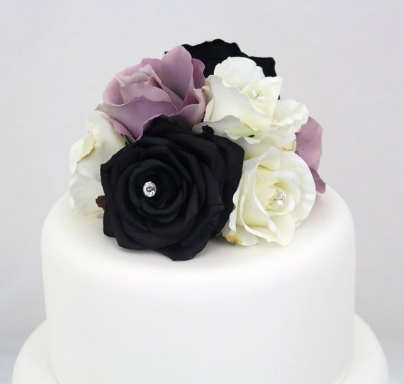 Silk Flower Wedding Cake Toppers: MADE TO ORDER Rose Silk Flower Wedding Cake Topper 6 Inch