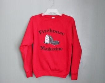 10 DOLLAR Sale Vintage 80s Firehouse Magazine Red Sweatshirt - Firemans Hat - Women M Men S