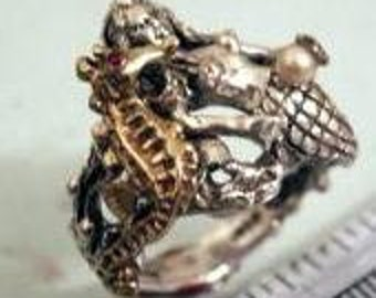 Mermaid Golden Seahorse ring Sterling Silver