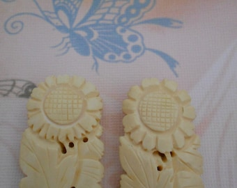 1930's Ivory Colored Celluloid Floral Dress Clips