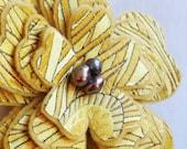 Brocade Flower Brooch in Goldenrod
