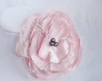 Satin Shantung & Tulle Flower in Pale Pink