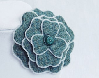 Flower Brooch in Shades of Green & Grey Plaid