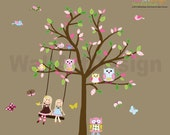 Kids Vinyl Wall Sticker Decal Art Tree with Swing Dolls Birds Butterflies