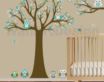 Tree and Branch Vinyl Wall Decal Stickers Owl Tree Set Nursery Girl Boy Baby