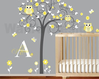 Children Wall Decal Girls Nursery Vinyl Wall Stickers Flowers Owls