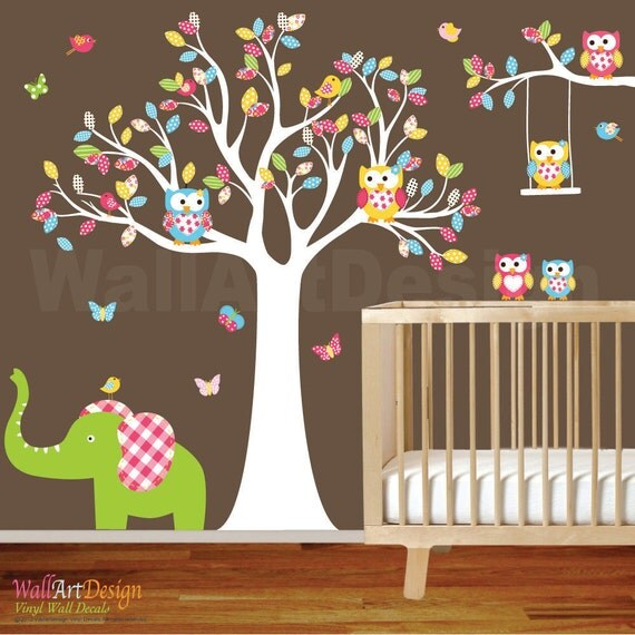 ON SALE Tree Decal Nursery Wall Stickers Colorful Tree Owl Wall Decal Elephant