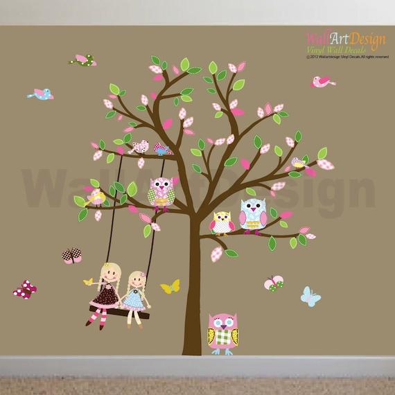 Kids Vinyl Wall Sticker Decal Art Tree with Swing Dolls Birds Butterflies