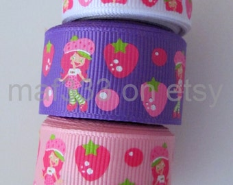"A0003 - Nine (9) YDS TOTAL Inspired by Strawberry Shortcake with Strawberries on 3/8""&7/8"" Grosgrain for scrapbooking, bowmaking"