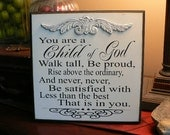 You are A Child of God sign with filigree embellishment