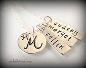 Personalized Skinny Tag Initial Necklace - Daniela Font - Modern Style - Sterling Filled - Monogram - Kids Names