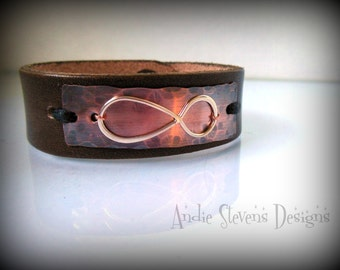 Leather Cuff Bracelet - Copper and Sterling Infinity Design -  Rustic Finish - Unisex