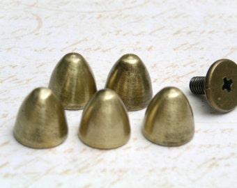 10 sets 8x8mm brass BRUSH bullet screwback spikes Studs