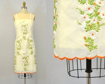 Floral sundress / TANGERINE orange embroidery / 1960s vintage