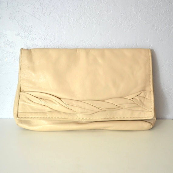 Leather clutch braided / envelope / neutral cream / oversized
