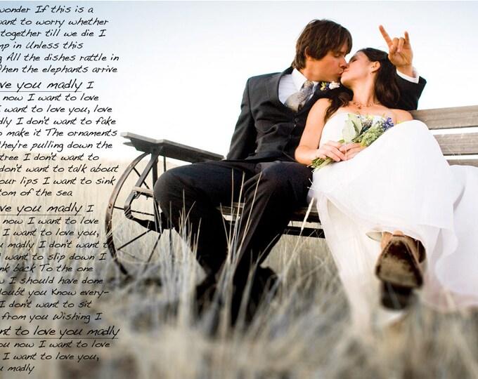 Wedding Vow Art First Dance Lyrics Wedding Song Lyrics 2nd Anniversary Gift For Couple Couple Portrait Gift Wedding Vows on Canvas 24x30