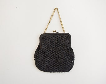 Vintage Raffia Purse, 60s Black Purse, 1960s Handbag, Chain Handle Purse, Woven Purse, Small Purse