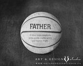 Basketball Print, Father Birthday Gift, Sport Art Decor, Dad Gift, Custom Gifts for Him, Worlds Best Dad, Unique Fathers Day Gift Idea