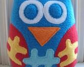 Autism Awareness Owl - OOAK Plush Owl - Support Autism