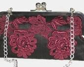 Handmade silk, Venice lace clutch handbag. Dark red, black. MERLOT AT MIDNIGHT by Lella Rae on Etsy