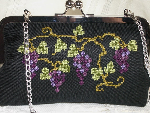 Handmade, hand embroidered cotton clutch handbag. Purple, blue, green, black. GRAPE ARBOR by Lella Rae on Etsy