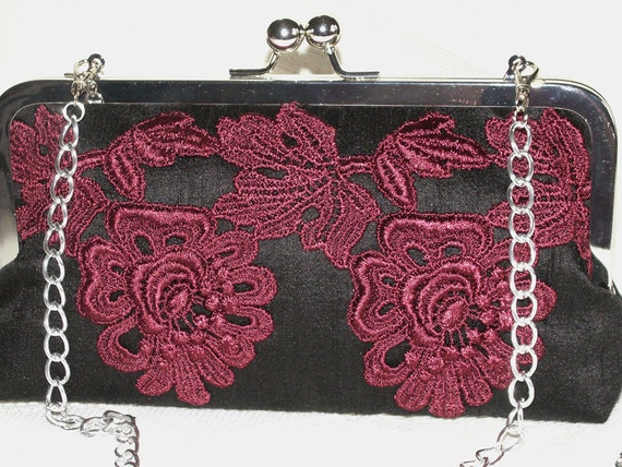 Handmade silk, Venice lace clutch handbag. Dark red, black. MERLOT AT MIDNIGHT by Lella Rae on Etsy