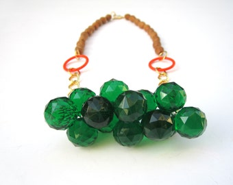 Green Bubbles Wood Plastic Beads Statement Handmade Necklace