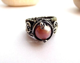 Wire Wrapped Sterling Silver Ring With Powder Pink Mother of Pearl Stone Size 6.25